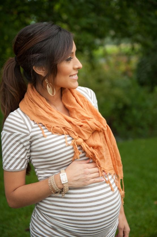 Maternity style - stripes and orange, great for fall