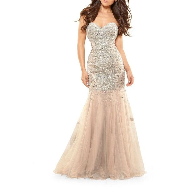 Glamour by Terani Couture Women's Embellished Mermaid Gown ($221) ❤ liked on Polyvore featuring dresses, gowns, nude, sequin evening gowns, sequined dresses, white evening gowns, sequin gown and mermaid dress