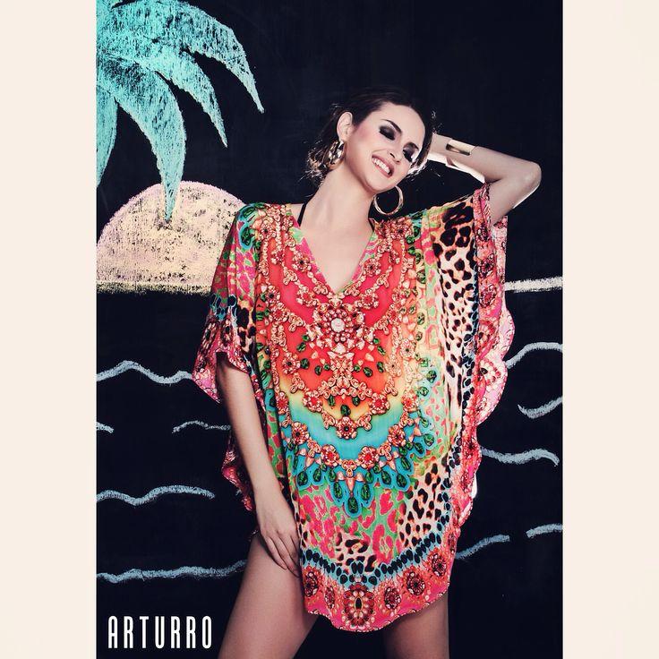 ARTURRO Resort Collction Printed Tunic Available at ARTURRO Boutique-Oberoi Bali #kaftan #resortwear #tunic #blouse #silk #womansclothing #womanswear #bali #beach