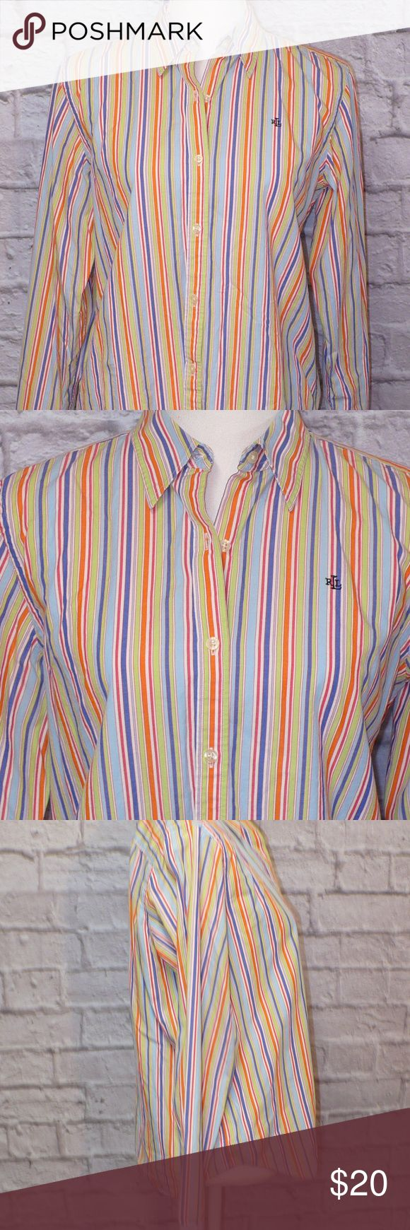 """Ralph Lauren Striped Oxford Shirt Size Medium L12 THE FIT Bust - Armpit to Armpit - About - 21"""" Midsection - Laying Flat - 20.5"""" Length - Top of Shoulder to Bottom - 25.5""""  THE DETAILS Long Sleeves 100% Cotton Women's Size Medium Lauren Ralph Lauren Tops Button Down Shirts"""