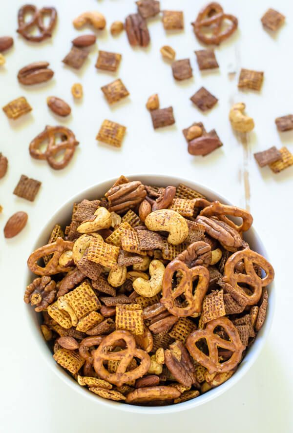 Sweet Spicy Chex Mix. A healthy chex mix recipe made with maple syrup. Sweet, spicy, and addictive!