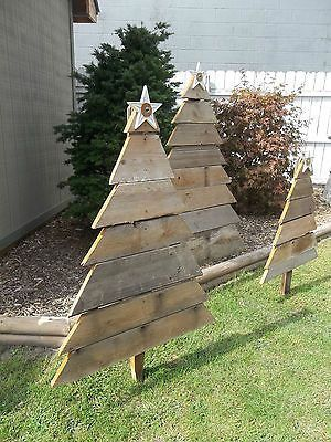 Barnwood Christmas Tree Yard Decor Vintage Weathered Wood 3 Sizes Handmade  http://whymattress.com/home-decoration