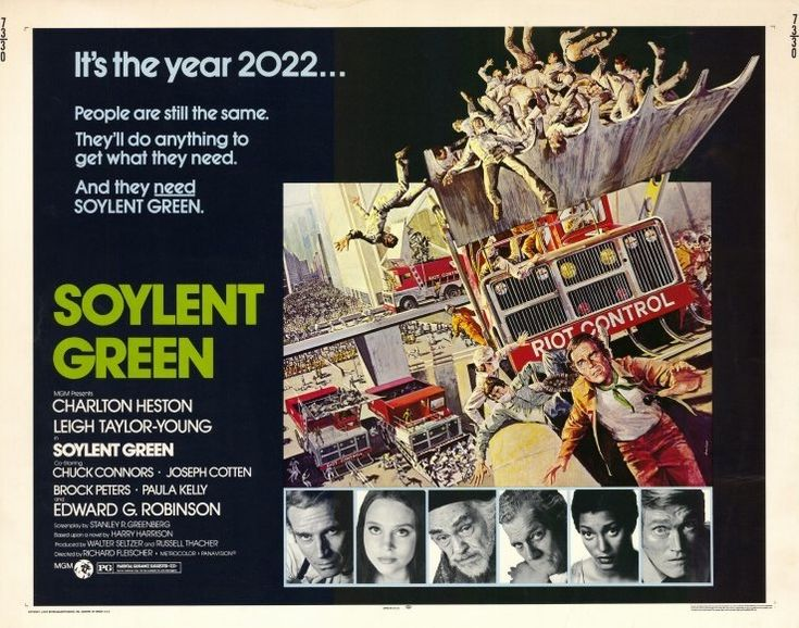 Soylent Green (1973) is an American science fiction film directed by Richard Fleischer and starring Charlton Heston and, in his final film, Edward G. Robinson. The film is loosely based upon the 1966 science fiction novel Make Room! Make Room!, by Harry Harrison.