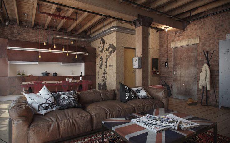 потолок:деревянные брусья и балки, вентиляционные трубы с различными вентилями, промышленные светильники и подвесные конструкции