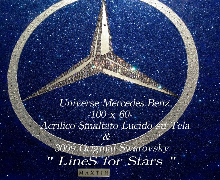 """Universe Mercedes-Benz"" 100x60 Acrylic on canvas Made with 3000 Original Swarovsky"