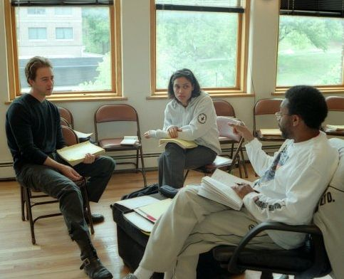 Edward Norton, Rosario Dawson and director Spike Lee on the set of 25th Hour (2002).