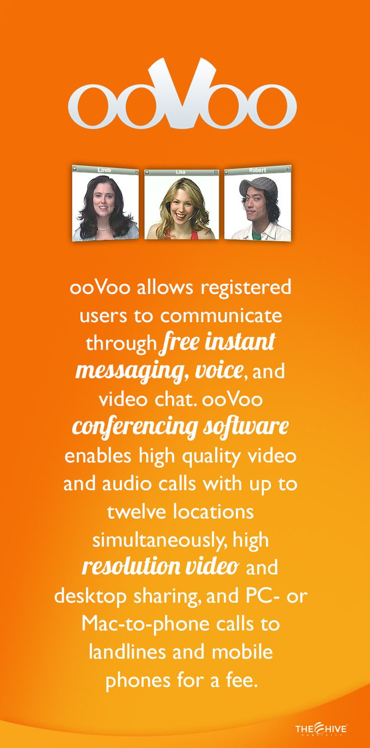ooVoo is a video chat and an instant messaging client developed by ooVoo LLC for Microsoft Windows, Windows Phone,Mac OS X, Android, iOS and Facebook. It was released in 2007, and is similar in some respects to Microsoft's Skype.  These days there are plenty of options for video call. However, when it's in regards to video conference ooVoo is the one that has worked better for us.