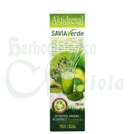 Aktidrenal Savia Verde de Tongil, a base de Spirulina, Chlorella, plantas, frutas, vitaminas y minerales. Ayuda a detoxificar, oxigenar rejuvenecer tu organismo