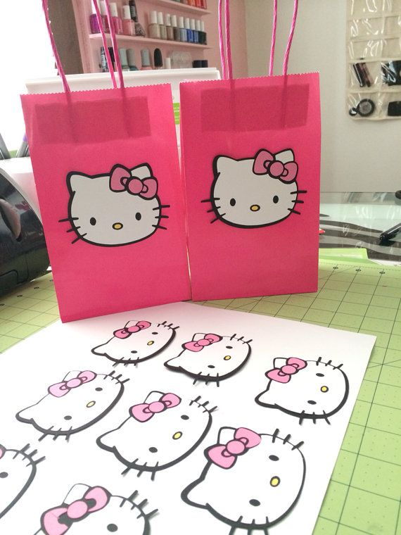 Hello kitty party bags  by YrsYpartydecor on Etsy, $25.00