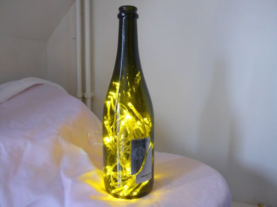 Unique White LED Prosecco Bottle Light upcycle by RevampedUp