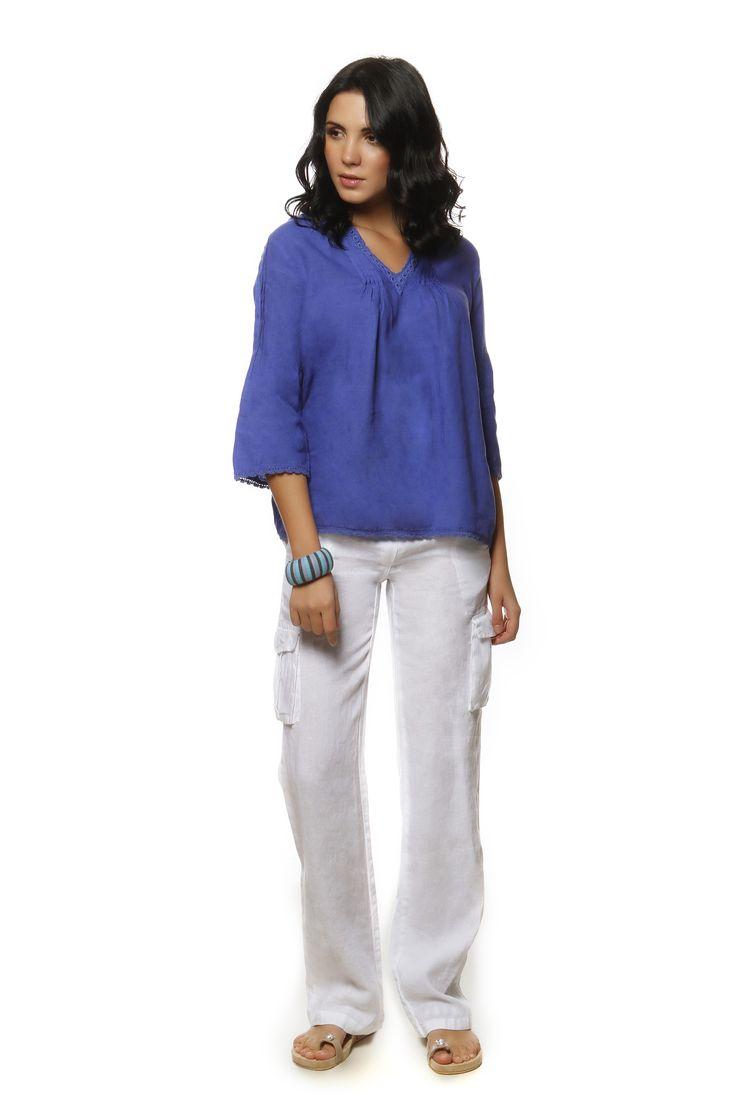 Linen Blouse 814 and Linen Pants 750 http://eshop.hariscotton.gr/