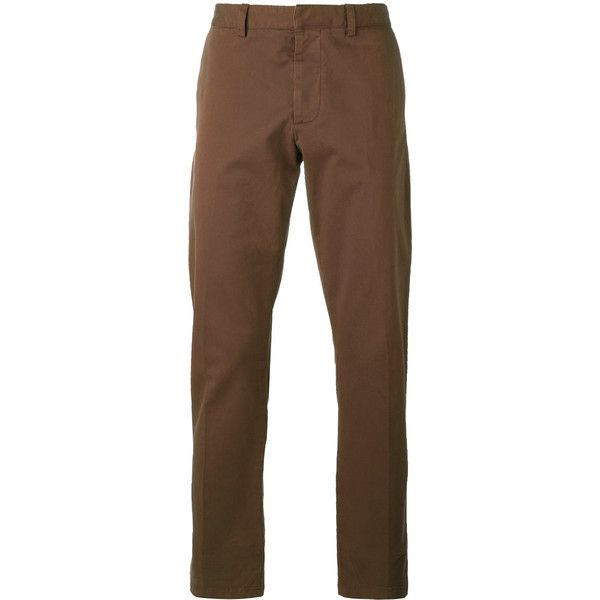 Ami Alexandre Mattiussi Chino Trousers ($102) ❤ liked on Polyvore featuring men's fashion, men's clothing, men's pants, men's casual pants, brown, mens chino pants, mens chinos pants and brown mens pants