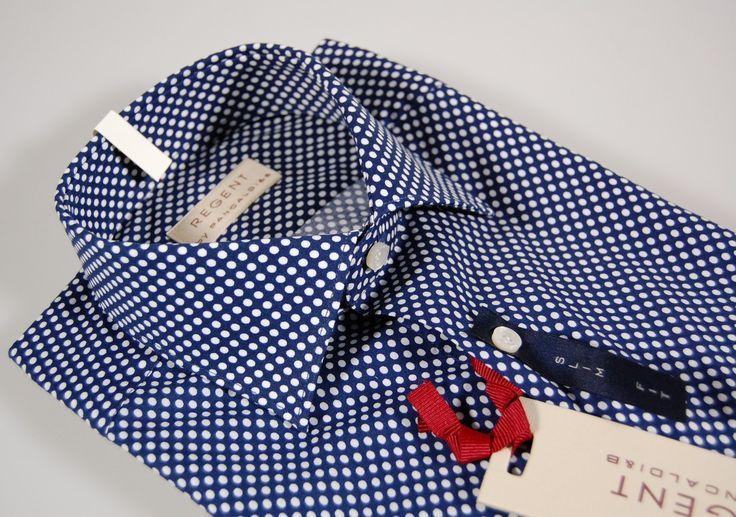 Camicia blu a pois regent by pancaldi slim fit