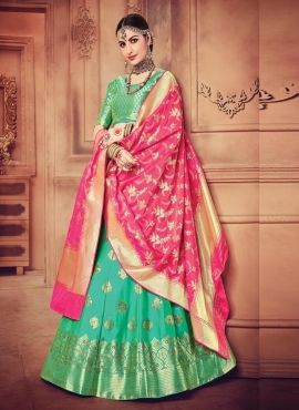 8e045c68e565 Green & Peach Pure Banarasi Silk Lehenga Choli 5187768 in 2019 ...