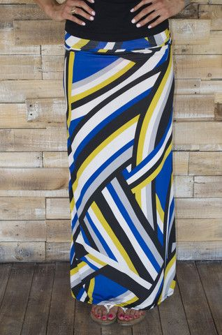 Blue and Gold maxi skirt.  Great colors and comfy style of the spring and summer.