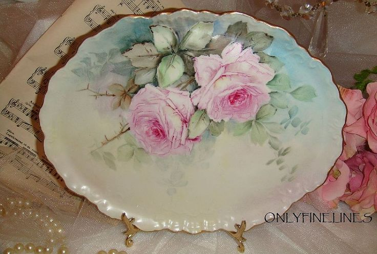BEAUTIFUL - William Guerin - Limoges FRANCE - Vanity Tray - Hand Painted - Romantic Victorian Bouquets - Pink Tea ROSES - Coin Gold Accents - Artist SIGNED - One-of-a-Kind - Museum Quality - FRENCH Hand Painted Heirloom