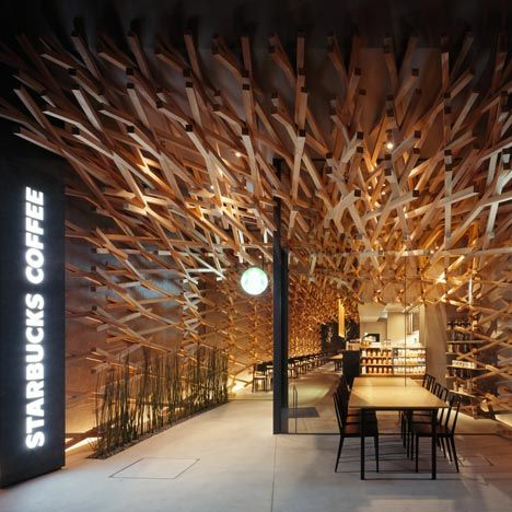 STARBUCKS COFFEE in Japan by the world known architect, Kengo Kuma. 太宰府のスタバ、隈研吾氏設計。