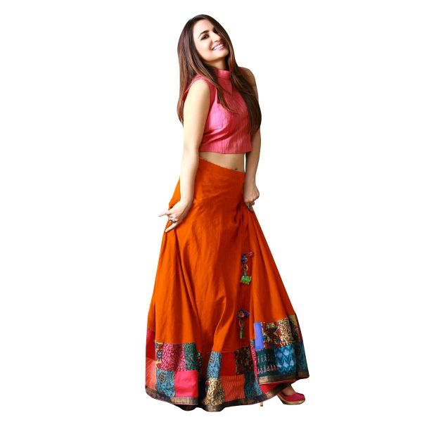 Buy Orange Color Banglori Silk With Digital Print Work Semi-Stitched Lehenga Choli Online at cheap prices from Shopkio.com: India`s best online shoping site