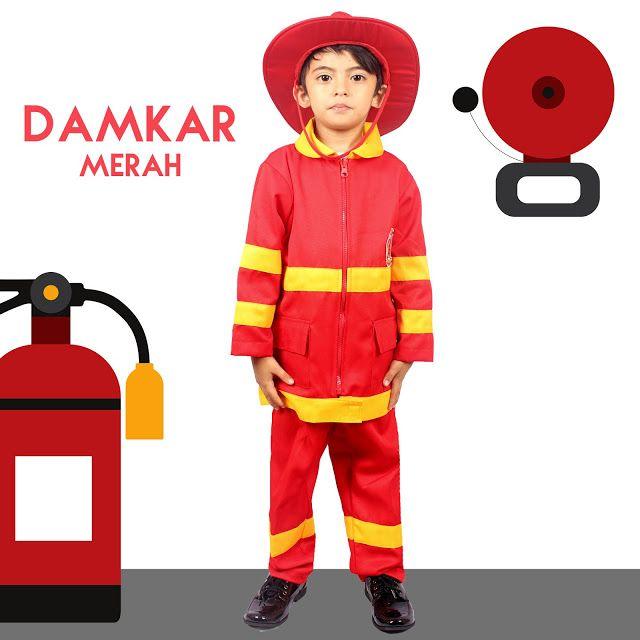 Pusat Baju Profesi Anak Terlengkap: Baju Profesi Anak Pemadam Kebakaran Merah