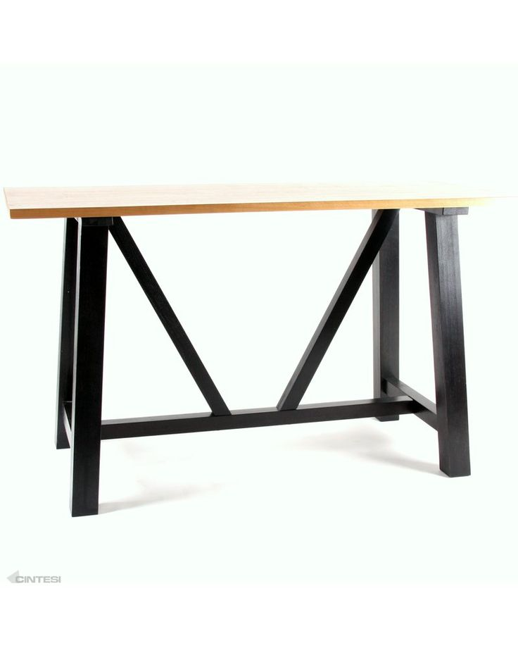 idaho solid oak bar leaner - natural top, black leg 180x80cm