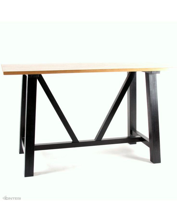 idaho solid oak bar leaner - natural top, black leg 180x80cm
