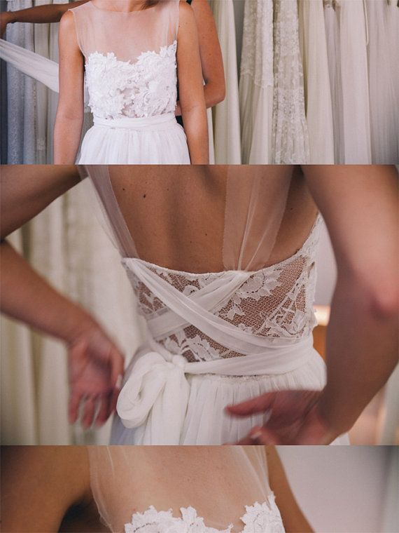 Stunning sheer neckline wedding dress with by Graceloveslace, $1200.00
