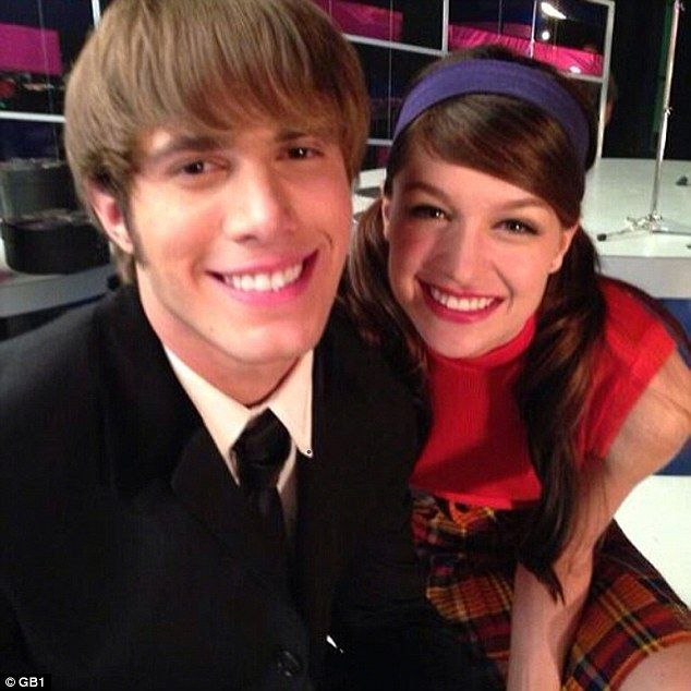 Cuddling up: The couple took this selfie on the set of Glee where they played Ryder Lynn and Marley Rose