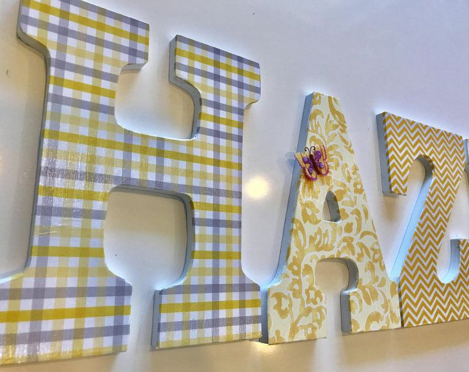 Nursery decor - custom words/names for wall - baby name wooden letters - yellow nursery decor - chevron letters - name for wall