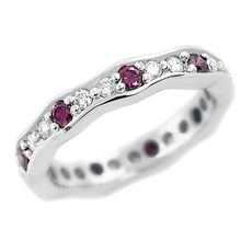Purple-Pink White Diamond Eternity Wedding Band Ring