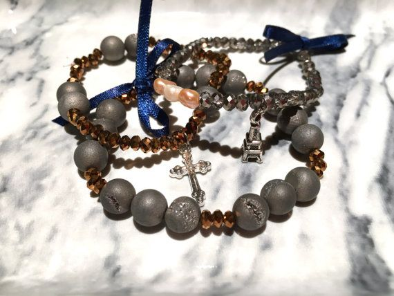 The Janis Dark Grey and Copper Bead Charm Bracelet Set by SoFetchYo on Etsy