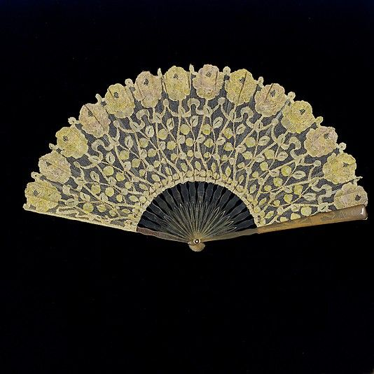 Fan  Date: 1910–15 Culture: European Medium: cotton, plastic http://www.metmuseum.org/Collections/search-the-collections/80052538?rpp=20=1=*=Fans=19