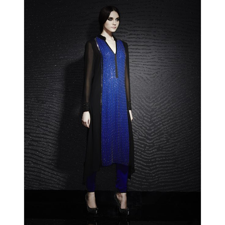 Colorblock fully beaded tunic in a straight cut, Rohit Gandhi & Rahul Khanna