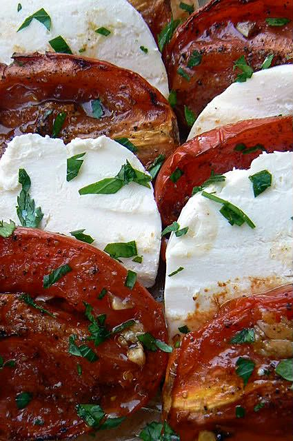 Roasted Tomato Caprese Salad- I like how Ina Garten makes a big platter of this for a group.