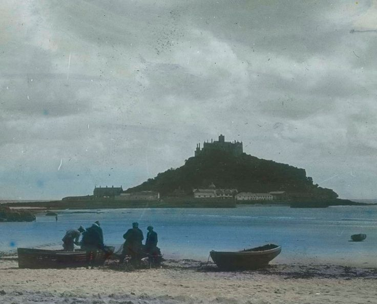 ST MICHAEL'S MOUNT (c.1925) | Cornwall: Taken from Marazion beach with fishermen and boats on foreshore.' (pic. Major Gill | text Royal Cornwall Museum)     ✫ღ⊰n
