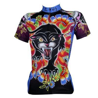 2016 new womens funny leopard cycling jersey colorful novelty biking jersey cool leopard cycling shirt cheap female bike gear