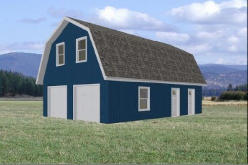 Gambrel roof garage 24 39 x 36 39 plans sheds for Gambrel pole barn plans