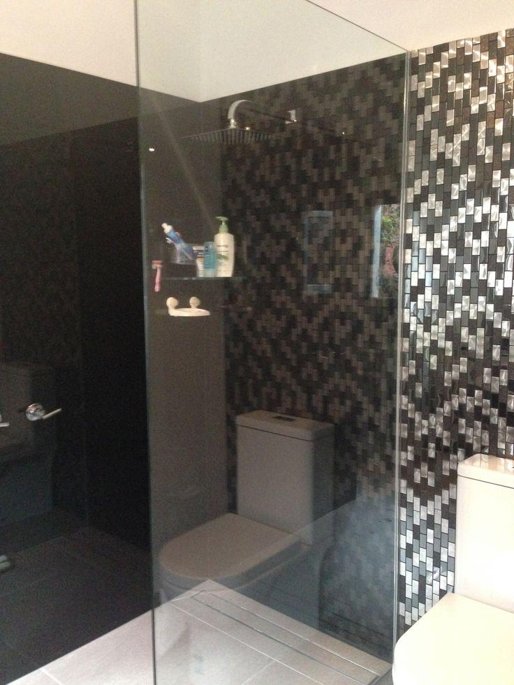 Black Coloured Glass Splashbacks In Shower