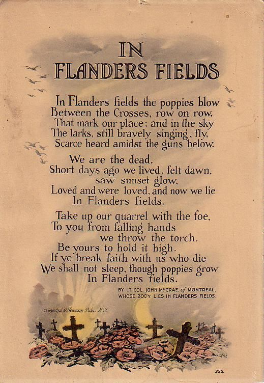 FLANDERS FIELDS: In Flanders Fields the poppy grew. Wear your poppies proud. I will.