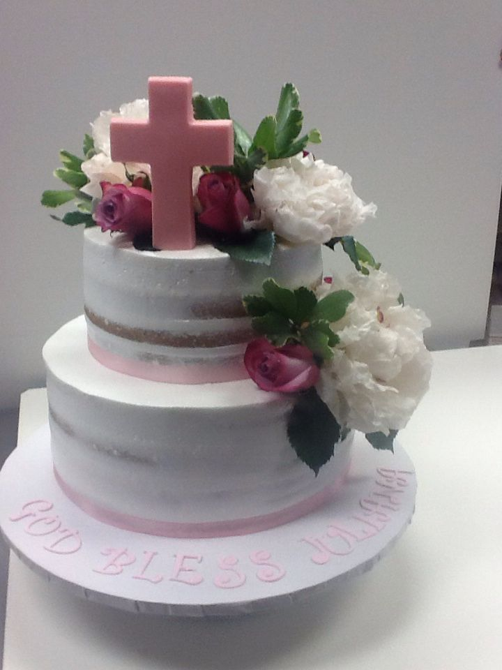 Two Tier Naked Cake For Baptism Communion Confirmation