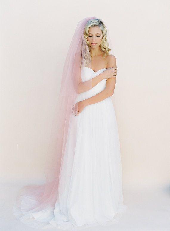 White Dress With Pink Veil Blush Veil Soft Wedding Veil Wedding Veil Blusher