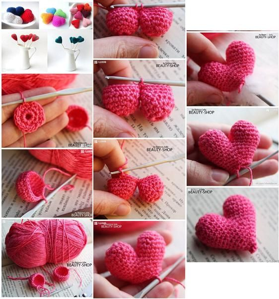 You can crochet beautiful hearts with different colors to give them to your friends or decorate your home.