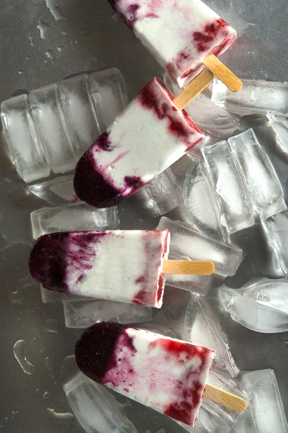 Red White and Blue Healthy Ice Pops - Blueberry, Coconut cream and ...
