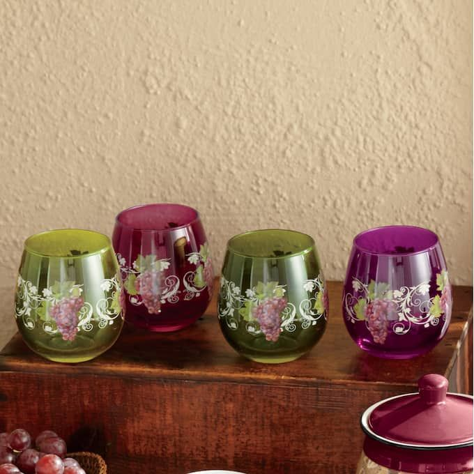 Grape Vineyard Dinnerware Set Canister Set And Stemless Drinkware