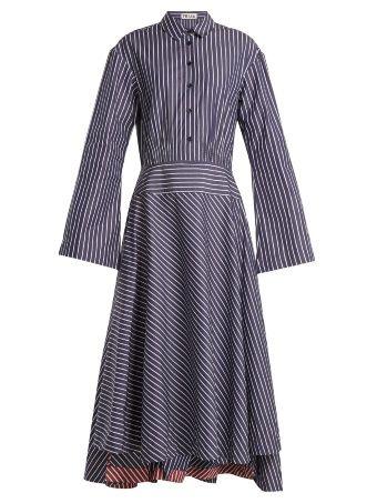 Point collar striped cotton dress