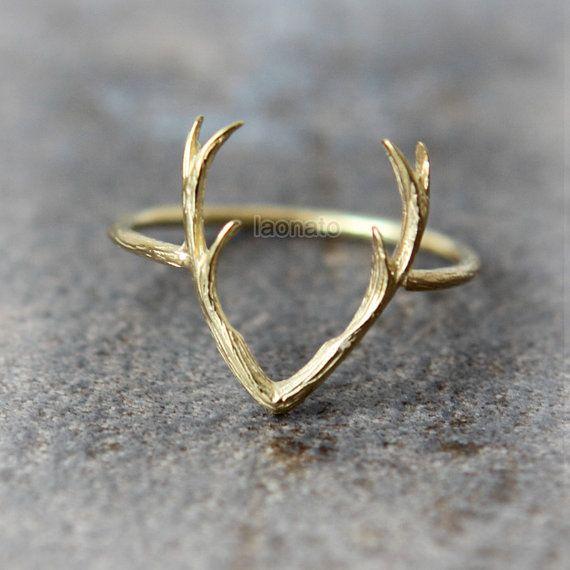 Hirsch Geweih Ring / wählen Sie Ihre Farbe Gold und von laonato