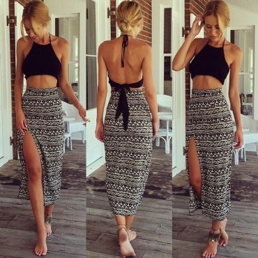 Sleeveless Backless Side Split Black Two-piece Ankle Length Skirt Set #PinoftheDay @iamalovelywoman
