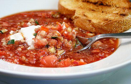 Barefoot Contessa Gazpacho Soup.  I added a jalapeno, cilantro, and celery salt.  Very good!