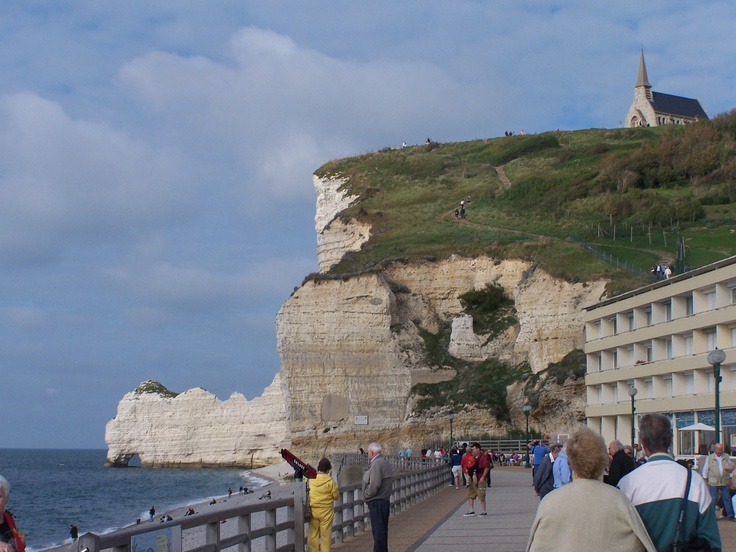Beaches White Cliffs And Old Church Of Normandy France
