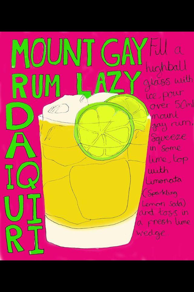 Mount gay lazy run daiquiri. illustration. By Sarah pow
