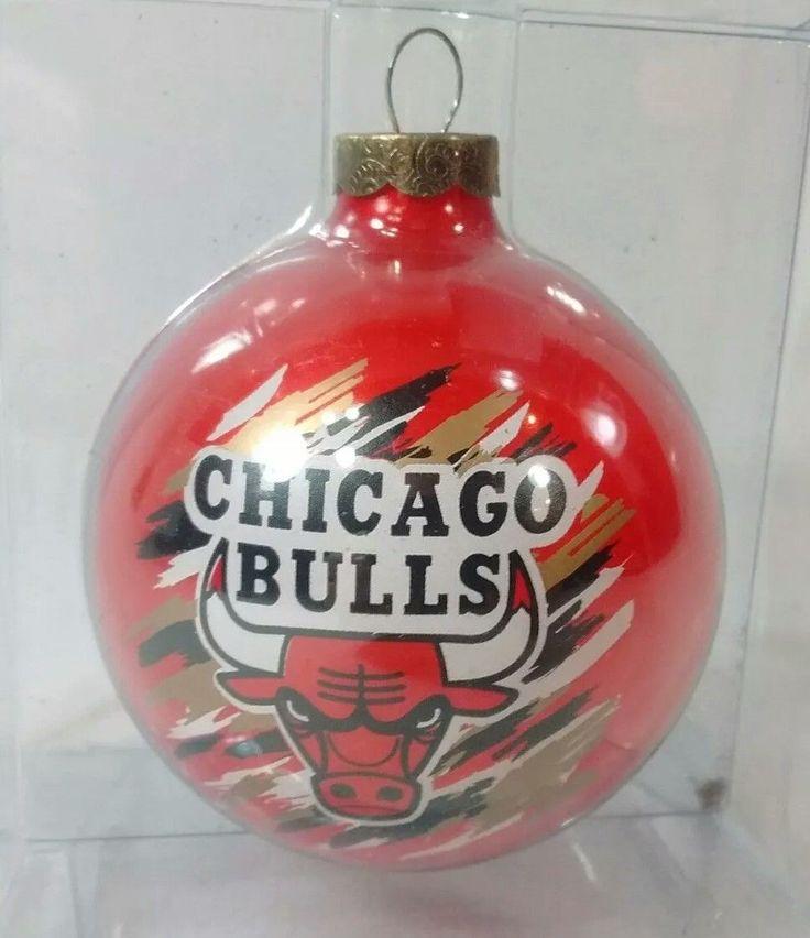 Chicago Bulls Christmas Tree Ornament Ball Red Logo NBA Glass Decoration